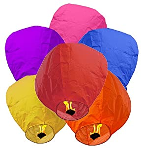 Chinese Flying Sky Lanterns by DIAMOND® - BioDegradable, 2.5 ft Tall, Wax Flame Fuel Units (10 Pack)