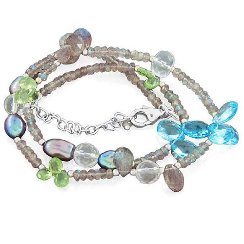 925 Sterling Silver Multi Gemstone Blue Topaz Pearl Peridot Beads Strand Necklace Jewelry