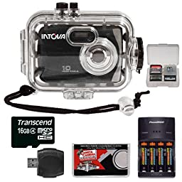 Intova Sport 10K Waterproof Digital Camera with 140\' Underwater Housing + 16GB Card + Batteries & Charger + Accessory Kit
