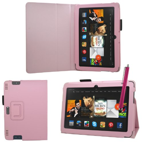 """Samrick - Amazon Kindle Fire Hdx 8.9"""" Inch - Executive Specially Designed Leather Book Folio Wallet Case With Exclusive Viewing Stand & Screen Protector/Foil/Film/Guard & Microfibre Cloth & High Capacitive Stylus Pen - Baby Lipstick Pink"""