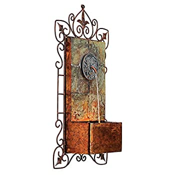 "Ibizi Faux Slate & Iron Medallion 33""H Wall LED Fountain"