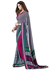 Indian Designer Sari Pretty Contemporary Printed Faux Georgette Saree By Triveni - B00NGFB5RS