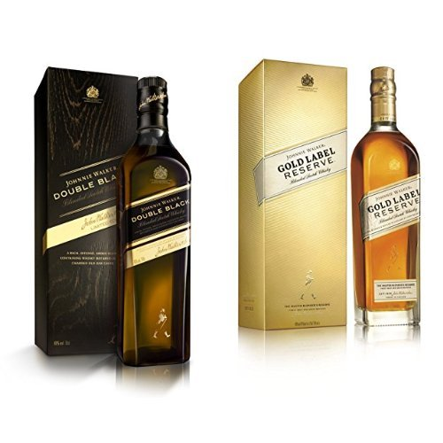 discount duty free Bundle: Johnnie Walker Double Black and Gold Label Blended Scotch Whisky 70cl