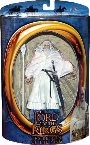 GANDALF THE WHITE wtih Cloth Cape and Sword-Slashing Action from THE LORD OF THE RINGS: THE RETURN OF THE KING Action Figure (Saruman Action Figure compare prices)