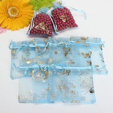 100Pcs Blue Butterfly Drawstring Organza Gift Candy Jewelry Pouch Bag^. (Giant Jordan Box Draw compare prices)