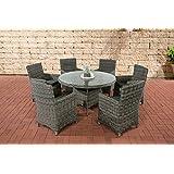 CLP Polyrattan Sitzgruppe LARINO grau-meliert (6 Sessel + Tisch 130x130 cm) INKL. bequeme Sitzkissen, Premiumqualität: 5mm Rund-Rattan grau-meliert, Bezugfarbe anthrazit