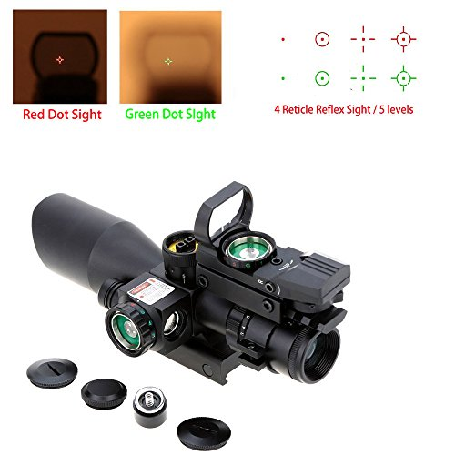 AOTOP 2.5-10x40 Tactical Rifle Scope Dual Illuminated Mil-dot with Red Laser, Rail Mount and 4 Reticle Red and Green Dot Open Reflex Sight with Weaver