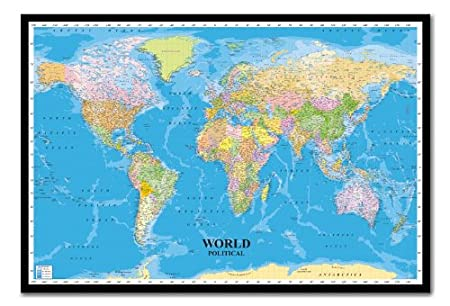 Black World Map Poster World Political Map Poster