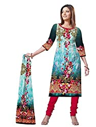BalajiWomen's Crepe Unstitched dress material(107-multicolor-free size)