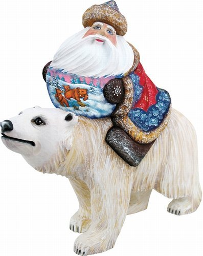 Global Journey Santa, Handpainted Woodcarved Masterpiece