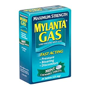 Mylanta Gas Simethicone Anti-Gas, Maximum Strength, Chewable Mint, 24 Count (Pack of 4)