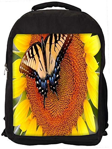 """Snoogg Butterfly Seeking Honey From Sunflower Casual Laptop Backpak Fits All 15 - 15.6"""" Inch Laptops"""