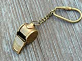 BEAUTIFUL SOLID BRASS WORKING WHISTLE Key Chain & ANTIQUE Finish