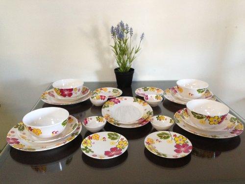 22-Piece Melamine Dinnerware Set Flower V236 (Fda Compliance)