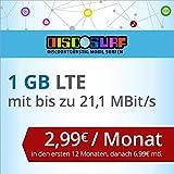 discoSURF Internet-Flat 1 GB LTE [SIM, Micro-SIM und Nano-SIM] 24 Monate Vertragslaufzeit (1 GB LTE mit max. 21,1 MBit/s, 2,99 Euro/Monat in den ersten 12 Monaten, danach 6,99 Euro / Monat ) O2-Netz