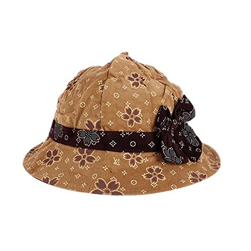 Weixinbuy Baby Girls Toddlers Flower Bowknot Summer Beach Bucket Sun Hat Khaki front-1028487