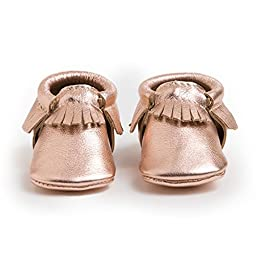 Freshly Picked Soft Sole Leather Baby Moccasins - Rose Gold - Size 0