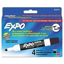 Low Odor Dry Erase Markers, Bullet Tip, Assorted, 4/Set