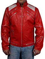 Mens faux leather jacket=MICHAEL JACKSON BEAT IT ORIGINAL= Available sizes, XS-5xl, Available Colors red, brown, white, green, black, blue.