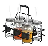 Zeesline Set of Six (6) 16-oz Clear Glass Chalkboard Mason Jars Mugs with Metal Lids and Drinking Straws, Including Caddy Holder with a Handle, Home and Party Drinkware Set