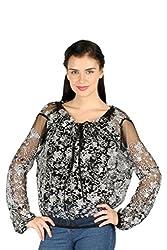 Aaliya Woman's Polyester meshTops- Black||white-M