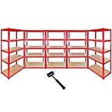 5 x 90cm Red Warehouse Storage Bays / Garage Shed Shelving / Utility Rack