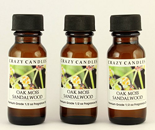 Oakmoss & Sandalwood (Oak Moss) 3 Bottles 1/2 Fl Oz Each (15ml) Premium Grade Scented Fragrance Oil By Crazy Candles