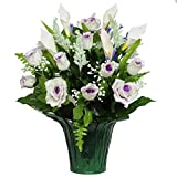 Purple Roses and Calla Lily Weighted Potted Silk Arrangement by Sympathy Silks® (PT1155) Sale
