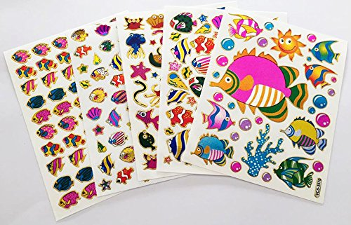 Fancy! Mix! Fish, Sea Horse, Star Fish, Under the Sea No.3 Sparkle Sticker-5 Sheet