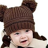 Tonsee Cute Baby Kids Girl Boy Dual Balls Warm Winter Knitted Cap Hat Beanie (Coffee)