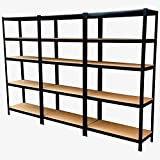 Panana 3 x 1.8m Warehouse 5 Tier Racking Shelf Heavy Duty Steel Garage Shelving Unit 180x90x40cm Black