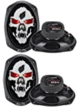 """4) NEW BOSS SKULL SK693 6x9"""" 1200W 3 Way Car Speakers Coaxial Audio Stereo"""