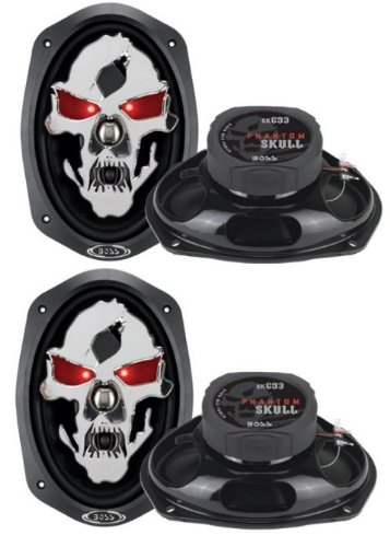 "4) New Boss Skull Sk693 6X9"" 1200W 3 Way Car Speakers Coaxial Audio Stereo"