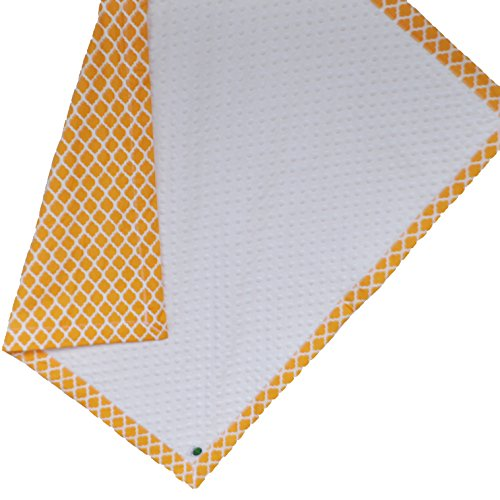 "Cozy Wozy Quatrefoil Print Cotton And Minky Baby Blanket With Mitered Corners, Yellow, 32"" X 37"""