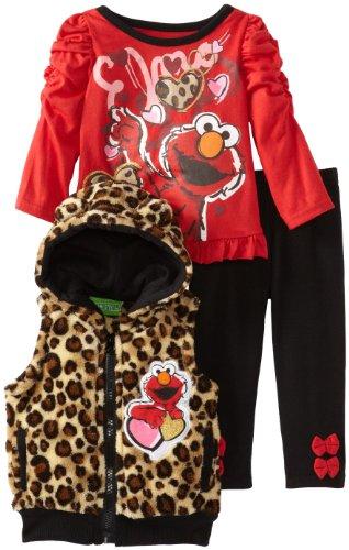 Sesame St Baby-Girls Infant 3 Piece Elmo Leopard Print Vest And Pant Set, Red, 18 Months front-43951