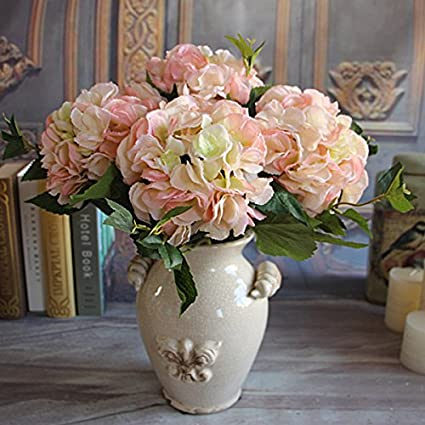 "{Factory Direct Sale} 18"" French Rose Floral Bouquet Artificial Silk Fake Peony Flower Arrange Room Hydrangea Wedding Home Decor Party -- Pink"