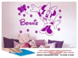 MINNIE MOUSE WALL STICKER DISNEY ANY CHILD'S NAME, LARGE BEDROOM, GIRLS BEDROOM, GIRLS ROOM, PLAYROOM, NURSERY LOUNGE, HALL, KITCHEN,