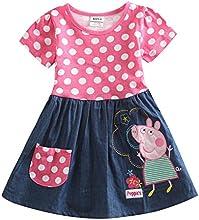 Peppa Pig Little Girls Short Sleeve Stitching Cotton Princess Dress 1-6Y