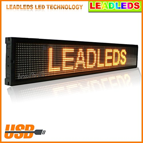 "Leadleds Programmable Amber Led Sign Display Board For Hotel, Bar, Club, Office - Size 40""X6.3"" For Indoor Use"