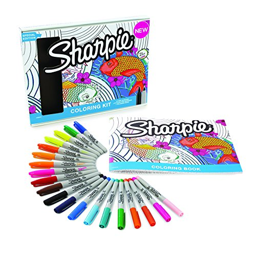 Sharpie Permanent Markers, 10 Fine & 10 Ultra-Fine Tip, Assorted Colors With Aquatic-Themed Adult Coloring Book