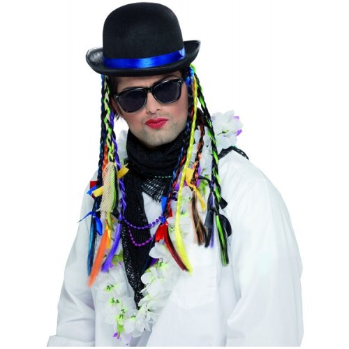 Boy George Chameleon Bowler Hat with Plaits