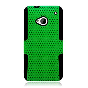 Eagle Cell PHHTCM7NTBKGR Progressive Hybrid Protective Gummy TPU Mesh Defense Case for HTC One/M7 - Retail Packaging - Black/Green