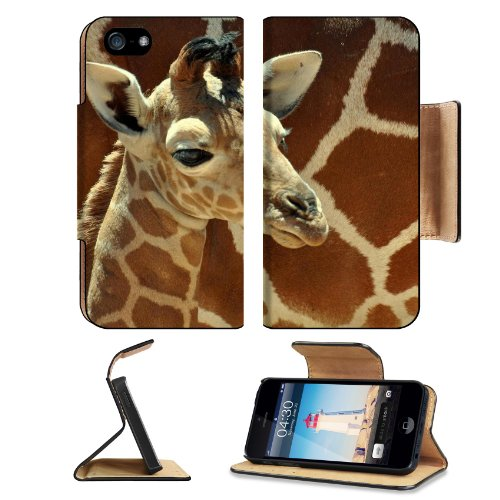 Giraffe Small Calf Face Pattern Cute Baby Africa Wildlife Animal Apple Iphone 5 / 5S Flip Cover Case With Card Holder Customized Made To Order Support Ready Premium Deluxe Pu Leather 5 3/16 Inch (132Mm) X 2 11/16 Inch (68Mm) X 9/16 Inch (14Mm) Luxlady Iph front-1060557