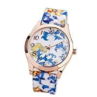 ZPS(TM) Women Silicone Printed Flower Causal Quartz Wrist Watches Blue from ZPS