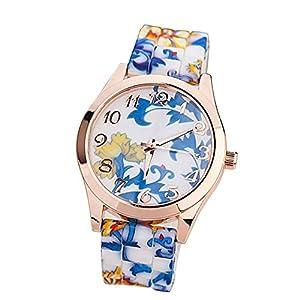 ZPS(TM) Women Silicone Printed Flower Causal Quartz Wrist Watches Blue from ZPS