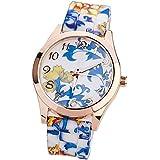 Suppion Women Silicone Printed Flower Causal Quartz Wrist Watches Blue