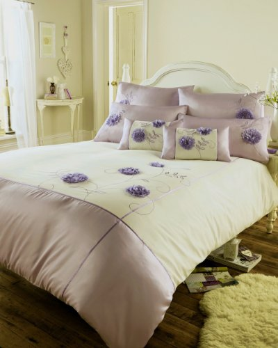 LILAC PURPLE DAMASK SCROLL  DUVET COVER SET IN DOUBLE OR KING SIZE EASYCARE