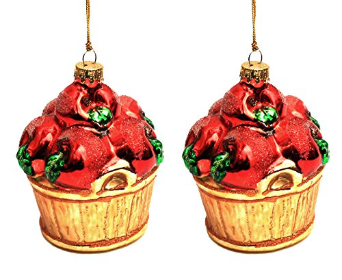 Holiday Lane Barrel Red Apples 2.75″ Glass Christmas Ornaments; Set of 2