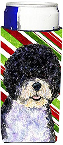 portuguese-water-dog-candy-cane-holiday-christmas-ultra-beverage-insulators-for-slim-cans-ss4559muk