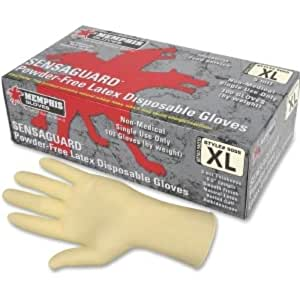 MCR Safety 5055XL SensaGuard Industrial Grade Latex Double Chlorinated Powder Free Disposable Gloves, Natural, X-Large, 1-Pair